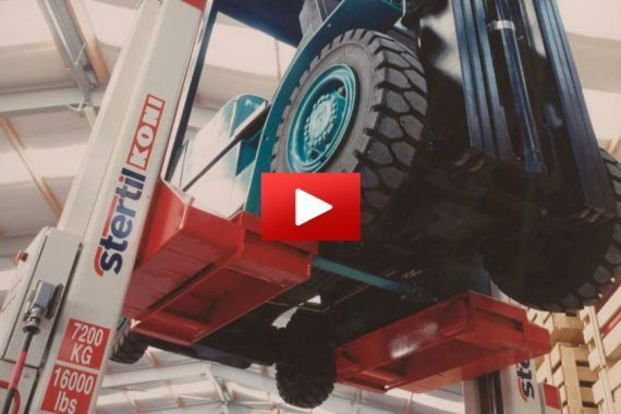 Video Forklift truck lifting with Stertil-Koni mobile column vehicle lifts