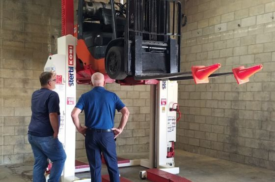 video forklift maintenance and repair with Stertil-Koni mobile vehicle lifts